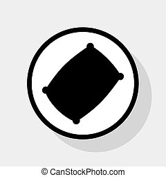 Pillow sign illustration. Vector. Flat black icon in white...