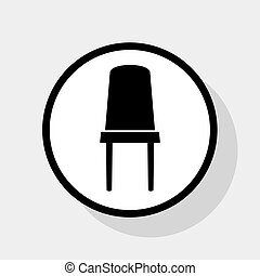 Office chair sign. Vector. Flat black icon in white circle...