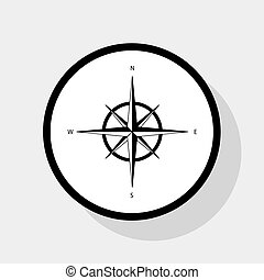Wind rose sign. Vector. Flat black icon in white circle with shadow at gray background.