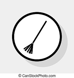 Sweeping broom sign. Vector. Flat black icon in white circle with shadow at gray background.
