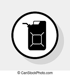 Jerrycan oil sign. Jerry can oil sign. Vector. Flat black...