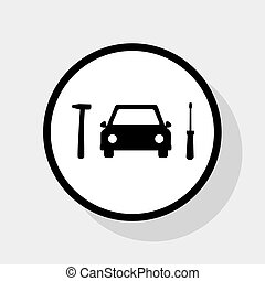 Car tire repair service sign. Vector. Flat black icon in...