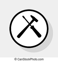 Tools sign illustration. Vector. Flat black icon in white...