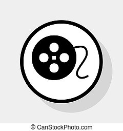 Film circular sign. Vector. Flat black icon in white circle with shadow at gray background.