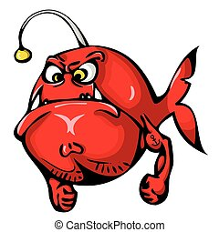 Red angry fish with tattoo on hand isolated on white background.