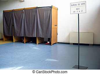 Polling stations and polling booths in france. Sign mention...