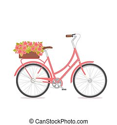 Pink retro bicycle with bouquet in floral box on trunk for wedding, congatulation banner, invite, card