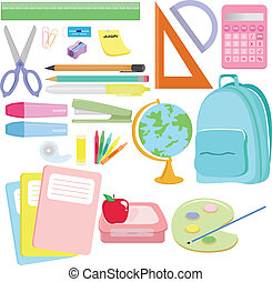School supplies - A vector illustration of a variety of...