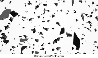 Broken pieces of stones flying in air - Abstract background...