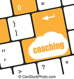 coaching word. keyboard key showing business insurance concept