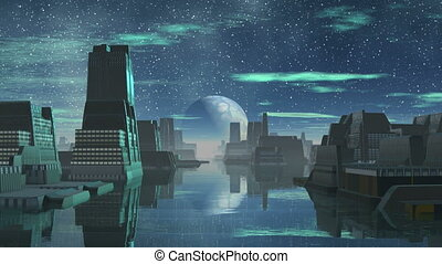 Alien City and the Big Moon - Strange buildings stand in the...