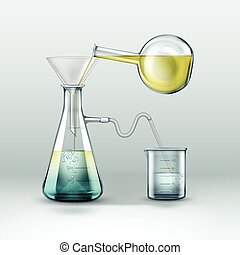 Chemical laboratory experiment - Vector chemical reactions...