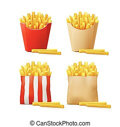 Vector Set of Potatoes French Fries in Red White Striped...