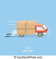 Fast delivery service flat vector illustration. A vehicle...