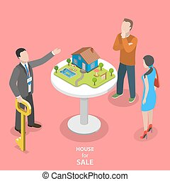 House for sale isometric flat vector concept.
