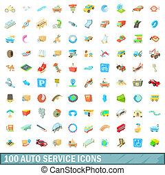 100 autoservice icons set, cartoon style - 100 autoservice...