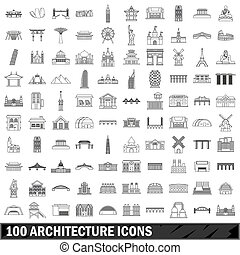 100 architecture icons set, outline style