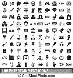 100 entertainment icons set, simple style - 100...