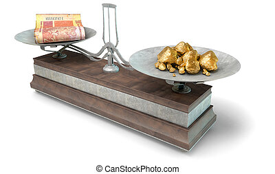 Balance Scale Comparison - An old metal and wood two pan...
