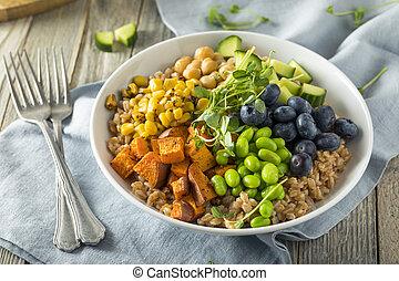 Raw Organic Healthy Buddha Bowl with Farro Spinach Edamame...