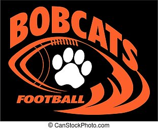 bobcats football team design with football laces and paw...
