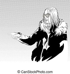 Vector illustration of woman in furs. A woman explaining something.