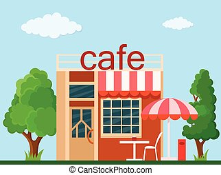Cafe front view - Colorful cafe front view on nature...