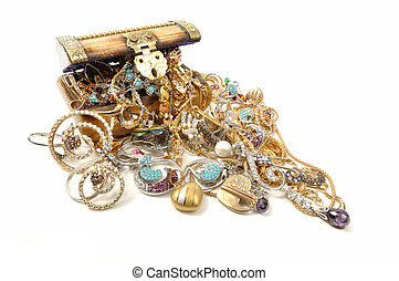 Treasure chest with jewelry - Wooden chest full of gold...