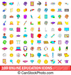 100 online education icons set, cartoon style