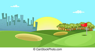 Golf course horizontal banner, cartoon style - Golf course...