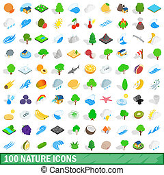 100 nature icons set, isometric 3d style - 100 nature icons...