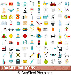 100 medical icons set, flat style - 100 medical icons set in...