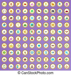 100 mobile banking icons set in cartoon style on purple...
