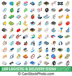 100 logistic delivery icons set, isometric style - 100...