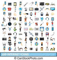 estilo, iconos, Conjunto,  internet,  100, caricatura