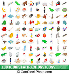 100 tourist attractions icons set in isometric 3d style for...
