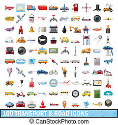 100 transport and road icons set, cartoon style - 100...