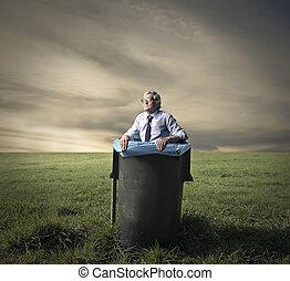 Man in bin - Man hiding in bin