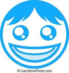 blue happy face icon - design of blue happy face icon