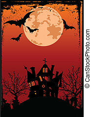 Halloween background with haunted - Grunge Halloween...