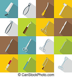 Surgeons tools icons set, flat style - Surgeons tools icons...