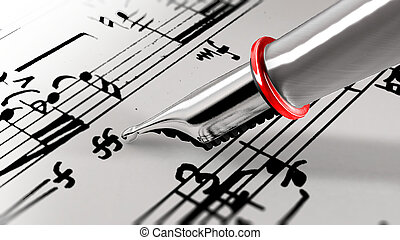 Close-up on a fountain pen of a music composer. 3D...