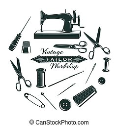 Hand Drawn Tailor Elements Collection - Hand drawn tailor...