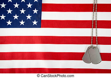 military dog tags on flag - military dog tags and chain on...
