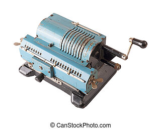 mechanical calculator - Old blue calculating machine...