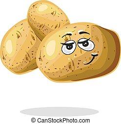 Funny potato character cartoon mascot vector - Fresh cartoon...