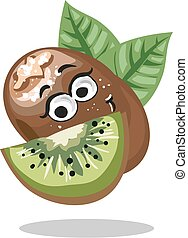 Kiwi. Cute fruit vector character isolated on white