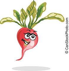 Happy radish cartoon character vector