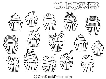 Hand drawn cupcakes set. Coloring book page
