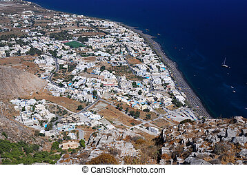 Kamari village, island Santorini, Greece - Upperview from...